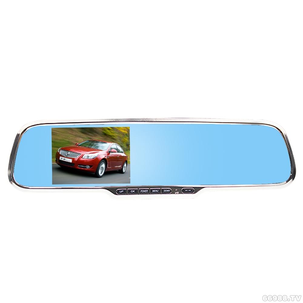 V55 蓝屏纯锌合金高清后视镜双镜头行车记录仪